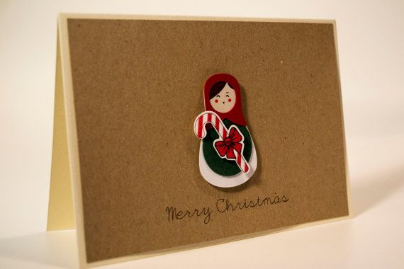 Unique handmade Christmas card/ Russian Doll, Matryoshka with candy cane and rhinestone, / 3D paper cut/ Kraft paper