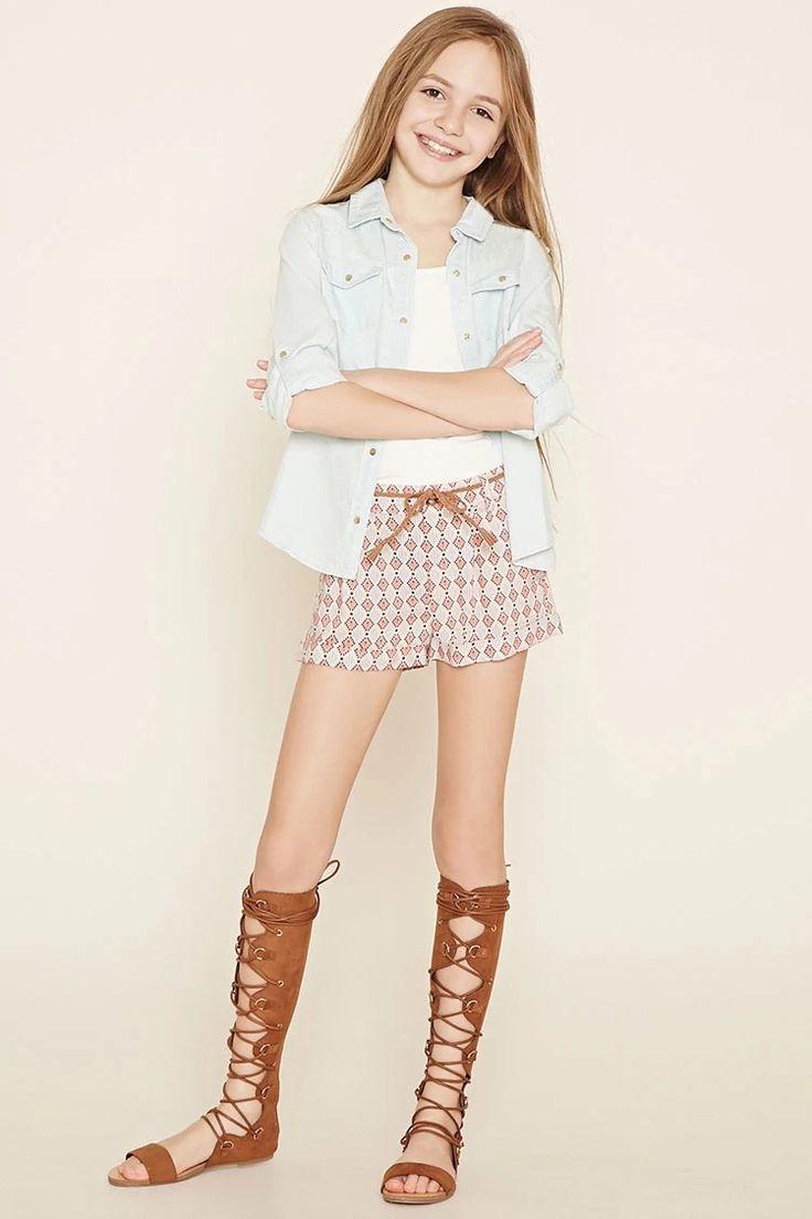 Girls Geo Print Shorts (Kids) #f21kids