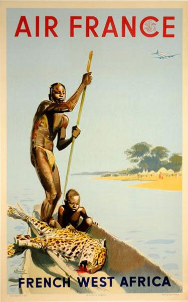 Air France, French West Africa vintage travel poster