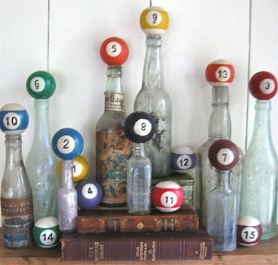"""vintage wooden pool balls by anythinggoeshere on Etsy"" This reminds me I have a bowling pin collection in the attic. Once I get my new rooms organized, I can pull that out for display again."