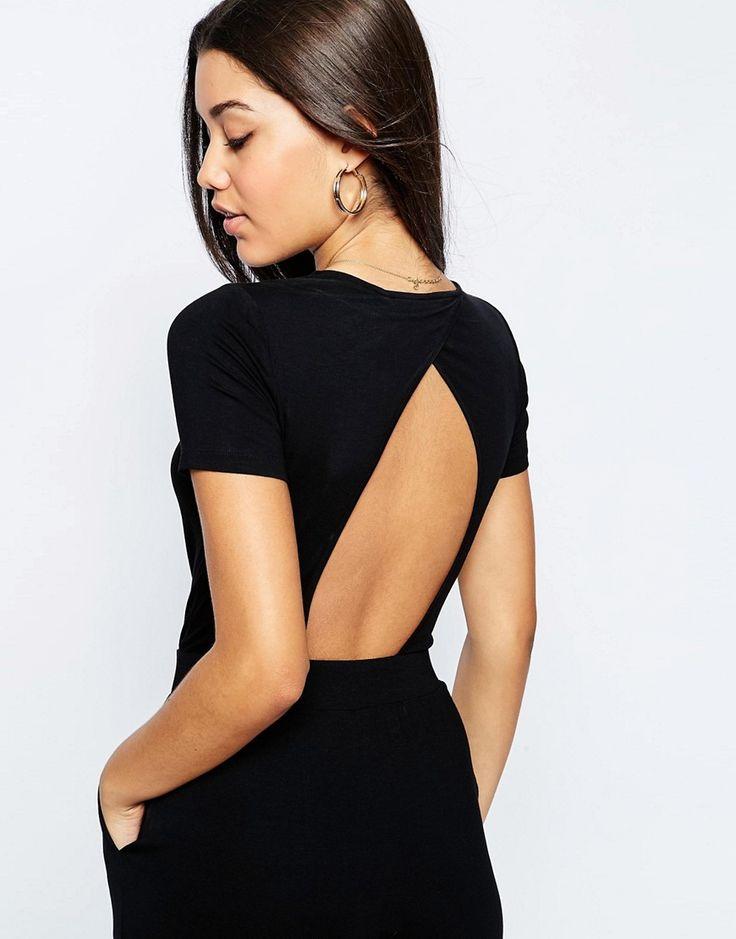 ASOS | ASOS - Combinaison en jersey croisée sur le devant avec manches courtes chez ASOS