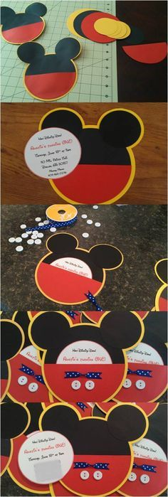 """Mickey Mouse Invitations  You'll Need:  Zip Dry Glue  Cardstock 12x12  Wht cardstock 8x10 for inserts  White buttons (Walmart)  Blue ribbon (HL)  Glue gun  Use a cricut or Fiskars Cut Perfect Circles tool. Use this youtube video. http://youtu.be/DZz24Q1dBqw I did a 1/4 to a ½"""" difference between yellow & black circles. Use a thin line just inside the edge for the shorts & quickly wipe up any glue that comes out the sides. My inserts were 3 1/2"""" circles I fit 5 on 1 page.   Good luck & have…"""