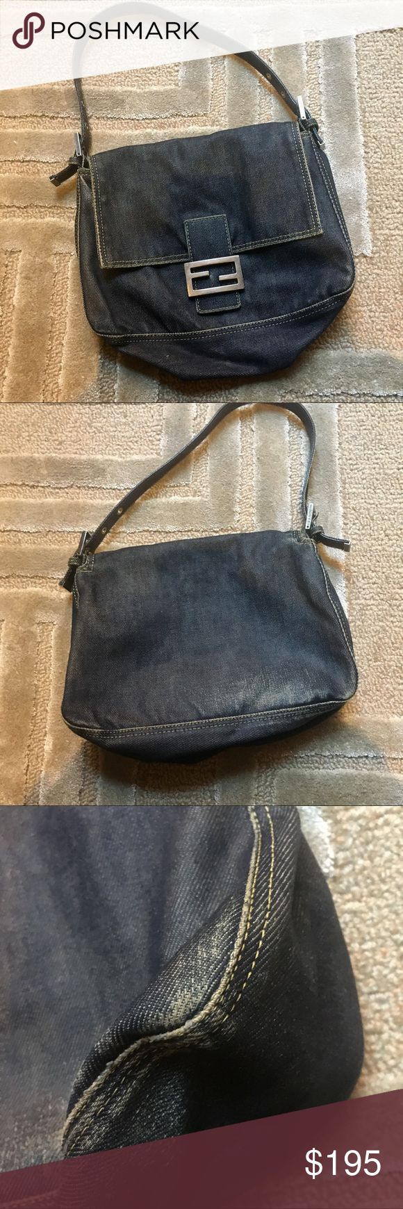 FENDI - medium classic denim flap bag Classic fendi bag made with denim. Blue denim with brown leather finishes and an adjustable strap. This bag has been gently used and in incredible pre owned condition. No stains, rips, tears, or odors - condition is reflected in the price Fendi Bags Shoulder Bags