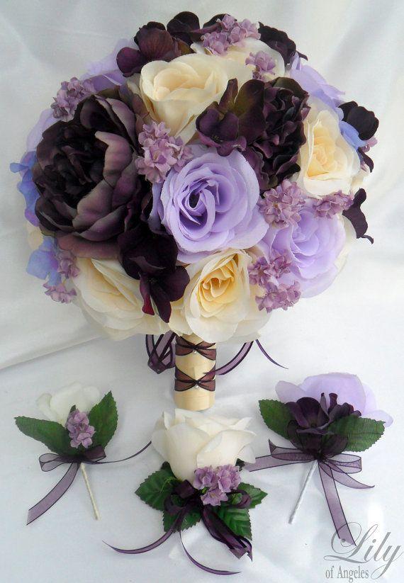 17 piece package wedding bridal bride maid of honor bridesmaid bouquet boutonniere corsage silk. Black Bedroom Furniture Sets. Home Design Ideas