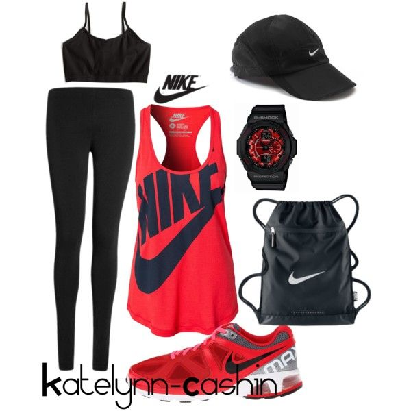 Nike workout by katelynn-cashin on Polyvore featuring NIKE, Lipsy, Sugarlips and G-Shock