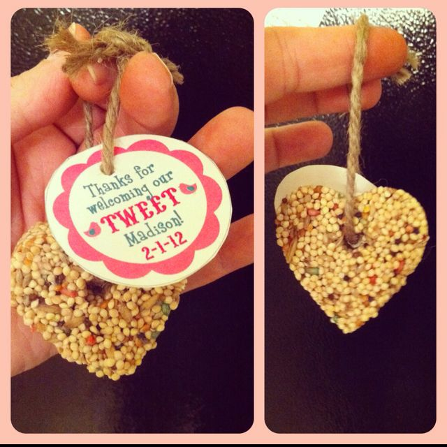 Bird seed favors for bird themed baby shower.  This was for my sisters welcome shower.