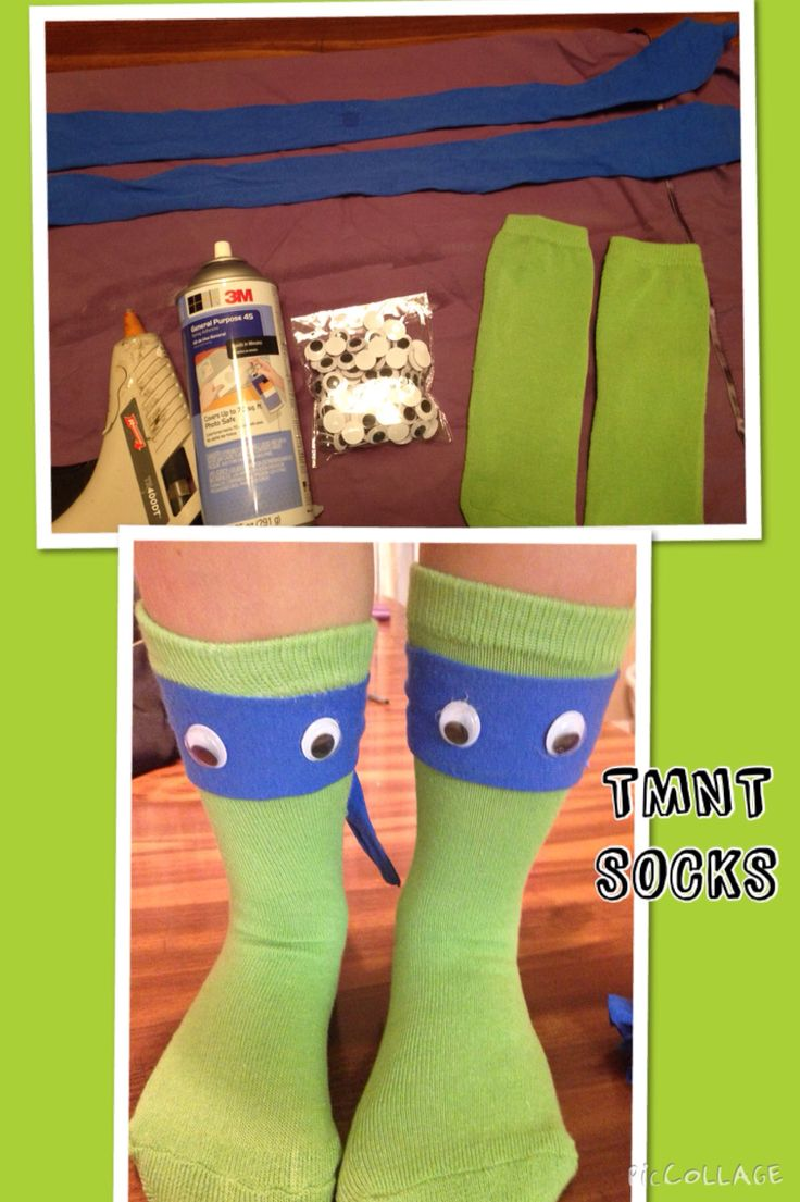 TMNT Teenage Mutant Ninja turtle socks. Son wanted some for crazy sock day at school. No choices for boys, so we made our own.  Green socks Old blue shirt Squiggly eyes Fabric spray glue Hot glue for eyes I only glued front of socks. Headband ties in back. Cut headband long.