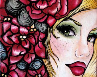 Items similar to Stargazer -  archival  paper print cute pink dia de los muertos rockabilly pin up girl tattoo woman illustration wall art on Etsy