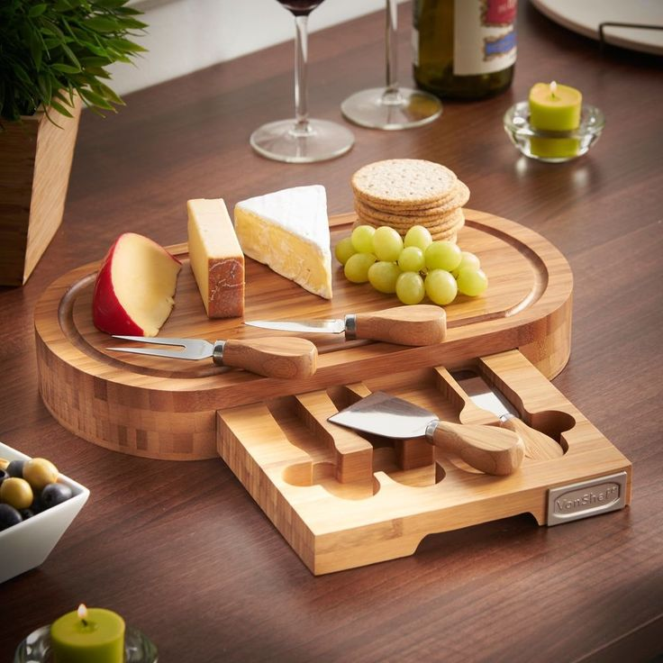 Oval Bamboo Cheese Cutting Board Knife Set Picnic Serving Tray Present Party  #OvalBambooCheese