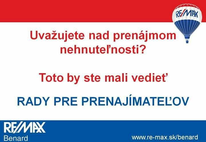 Rady pre prenajímateľov nájdete na tejto stránke >>http://www.remax-slovakia.sk/prenajimatelov  Potrebujete poradiť? Sme tu pre Vás >> www.re-max.sk/benard  #REMAXBenard #reality