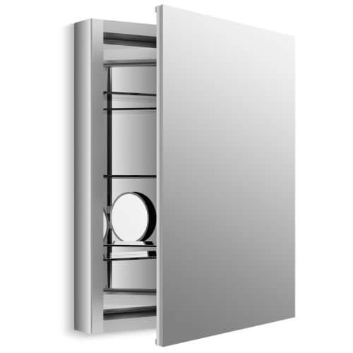"""Kohler K-99007 Verdera Collection 24"""" x 30"""" Mirrored Medicine Cabinet with Adjustable Magnifying Mirror and Slow Close Door, Silver aluminum"""