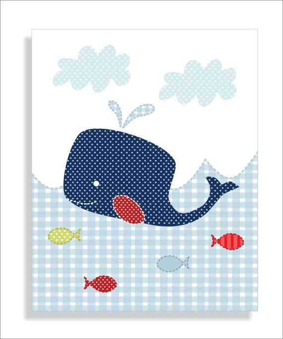 Whale Lighthouse and Sailboat Childrens Art by FieldandFlower, $22.00