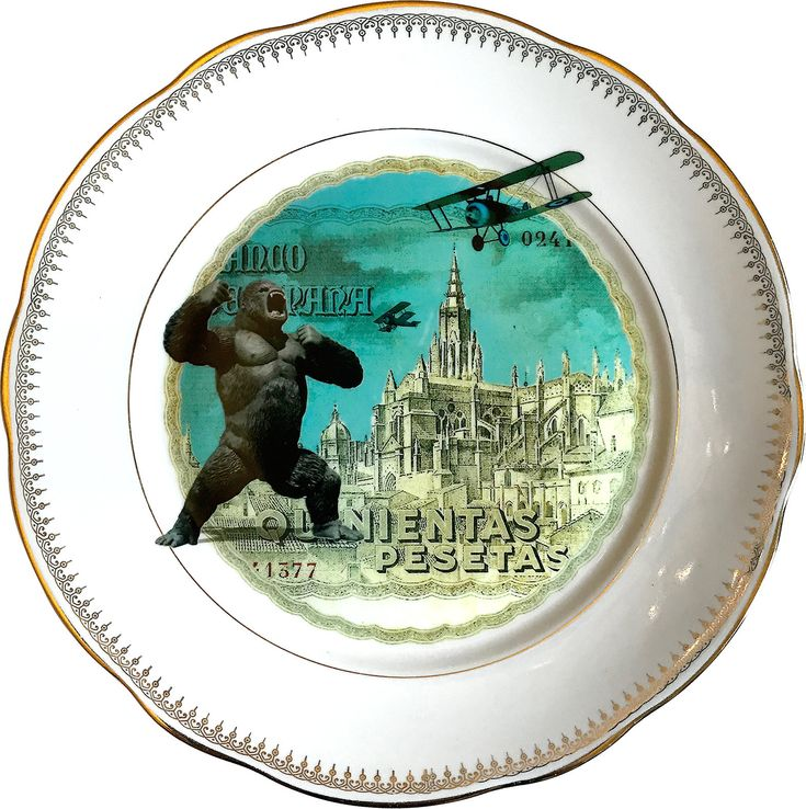 Kingnientas  - King Kong - Vintage Porcelain Plate - #0556 by ArtefactoStore on Etsy