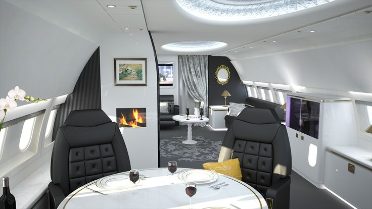 Luxurious Private Jet Interior Design Ideas : Private Dining Room Interior With Round Table And Black Chairs