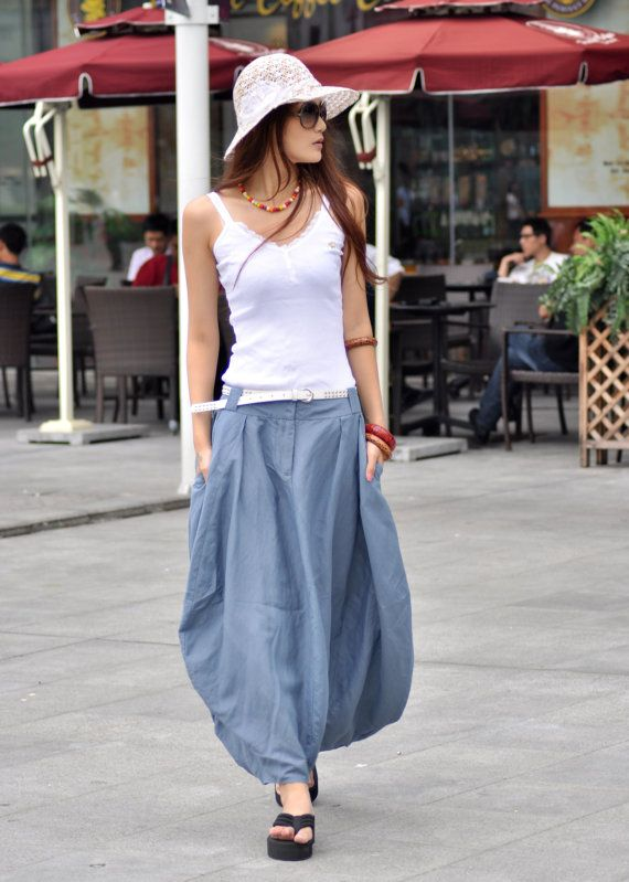 Sexy Greyblue Skirt Linen Bud Long Maxi Skirt  by Sophiaclothing,