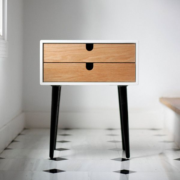 White Nightstand Bedside Table Scandinavian Mid-Century Modern Retro... (4,255 CNY) ❤ liked on Polyvore featuring home, furniture, storage & shelves, nightstands, bedroom furniture, grey, home & living, vanities & nightstands, handcrafted furniture and gray furniture