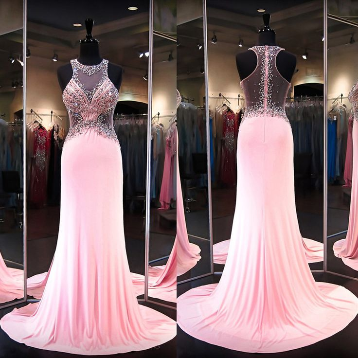 Illusion Tank Prom Dress with See-through Back, Beaded Pink Prom Dresses with Cutouts, Cheap Sleeveless Prom Dresses, #020101238