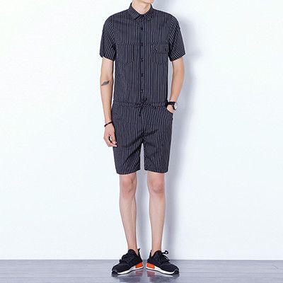 Men's Striped Jumpsuits Casual slim fit Cargo Pants 2017 New Arrival Black Blue cool summer short sleeve Overalls short pants