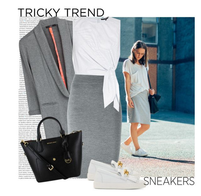 """Tricky trend. Sneakers and pencil skirt"" by blueyed ❤ liked on Polyvore featuring Oris, Steffen Schraut, Alexander McQueen, TIBI and Giuseppe Zanotti"