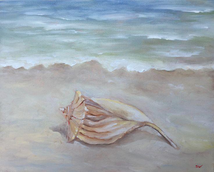 Muschelsuchen am Strand Acryl 40x50