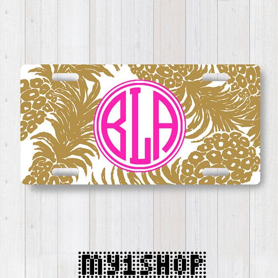 Personalized Monogram Aluminum License Plate. Custom License Plate. Front License Plate. Pineapples à la Gold and Pink Monogram