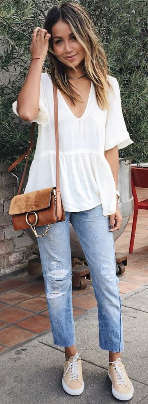 #sincerelyjules #spring #summer #besties |White Blouse + Camel Purse + Denim + Nude Sneakers