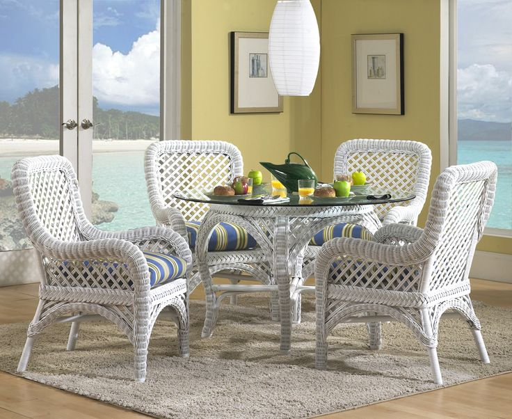 Lanai White Wicker Dining Set Delivers In Both Looks And Sturdy  Construction. Includes 4 Dining Chairs With Cushions And 1 Dining Table  Base With Glass Top.