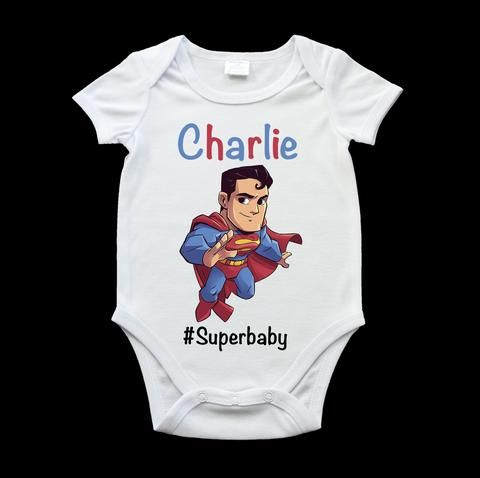 Personalised Superman baby onesie, romper suit