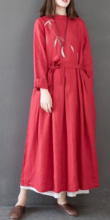 ee4532d0a4 Loose High Waist Linen Maxi Dresses Women Spring Clothes Q14011 ...