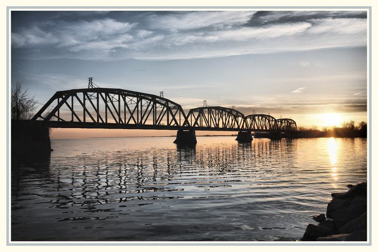 This is a railways bridge between two islands, Salaberry de Valleyfield, Quebec_ Cenral Canada