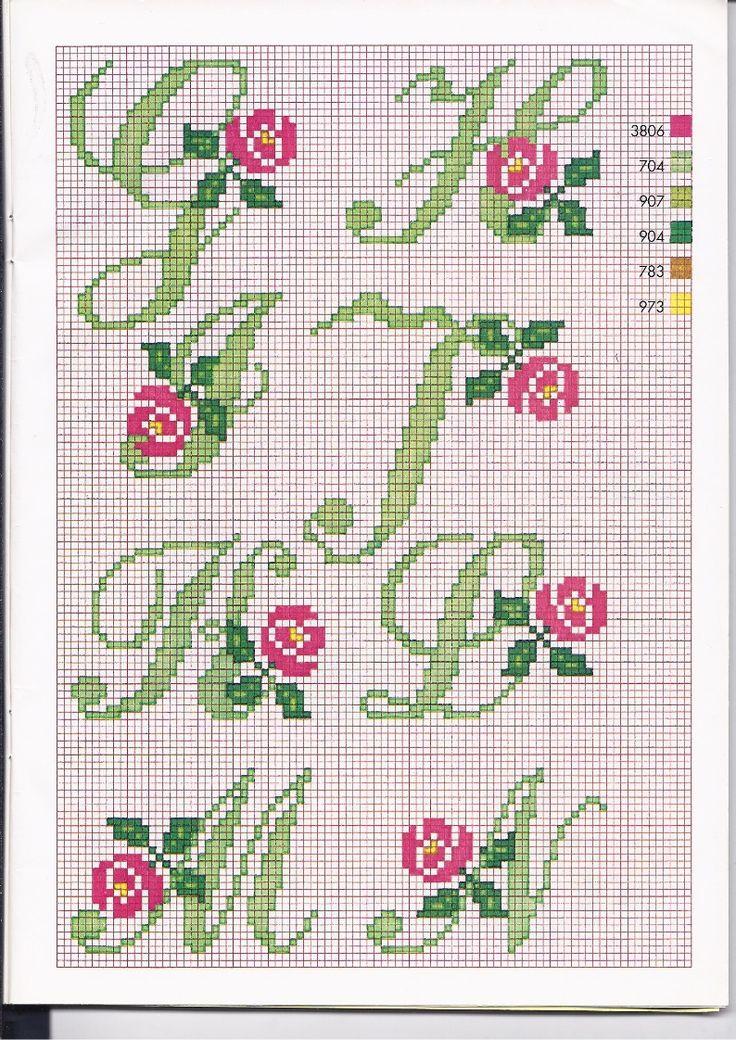 Alfabeto punto croce con le rose (2)