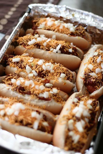 BAKED CHILI DOGS Mayo on th bun, put in sauces you like, place dog on bun, cover with chili, cheese and chopped onion, BAKE 350 degrees for 45 min