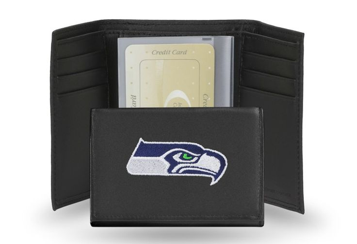 Seattle Seahawks Team Embroidered Leather Trifold/Wallet