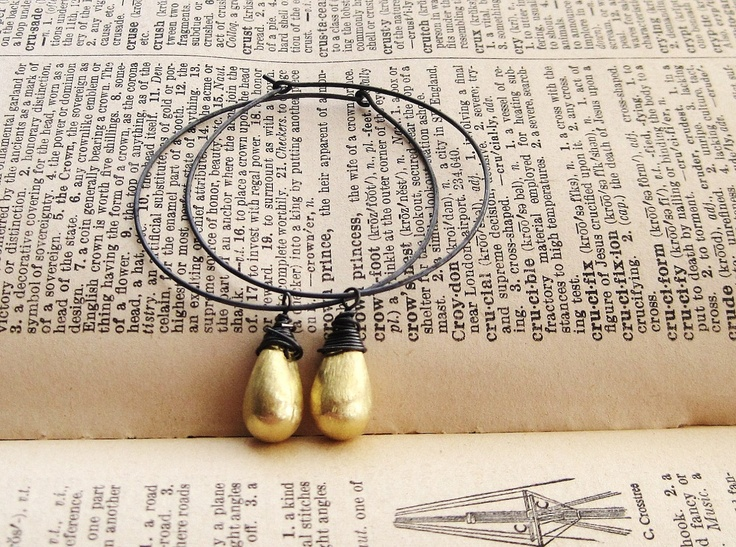 Large Oxidized Black Sterling Silver Hoops with Gold Teardrop Accent. $36.00, via Etsy.: Silver Hoop, Teardrop Accent, Sterling Silver, Oxidized Black, Black Sterling, Large Oxidized, Gold Teardrop