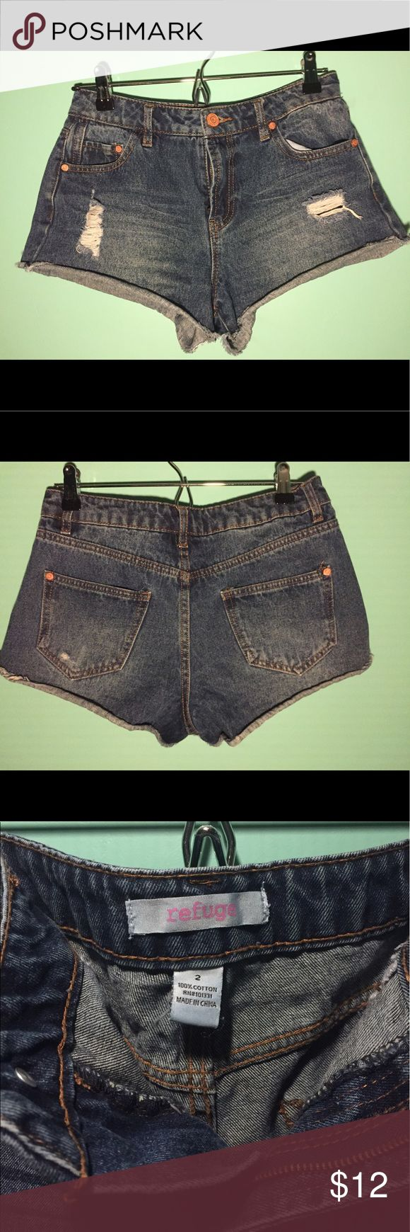 Charlotte Russe Distressed Denim Shorts Charlotte Russe Distressed Denim Shorts. Worn once. The hem rolls up a little, otherwise like new. Perfect for summer season and festivals! Any and all questions will be answered below within a half hour.   🏃FAST Shipping🏃 💵Offers Accepted💵 🤝Trades Accepted🤝 refuge Shorts Jean Shorts