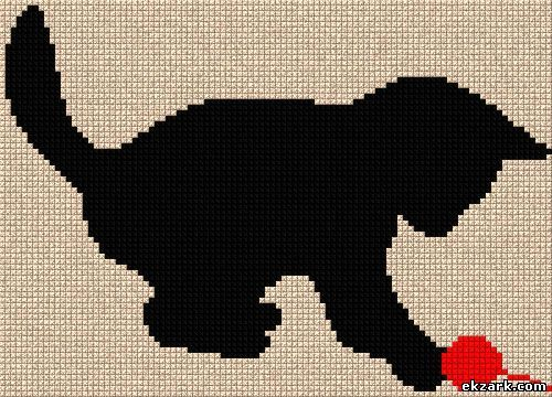 Black kitty, found on : http://eng.ekzark.com/load/cross_stitch/silhouette/game/4-1-0-247