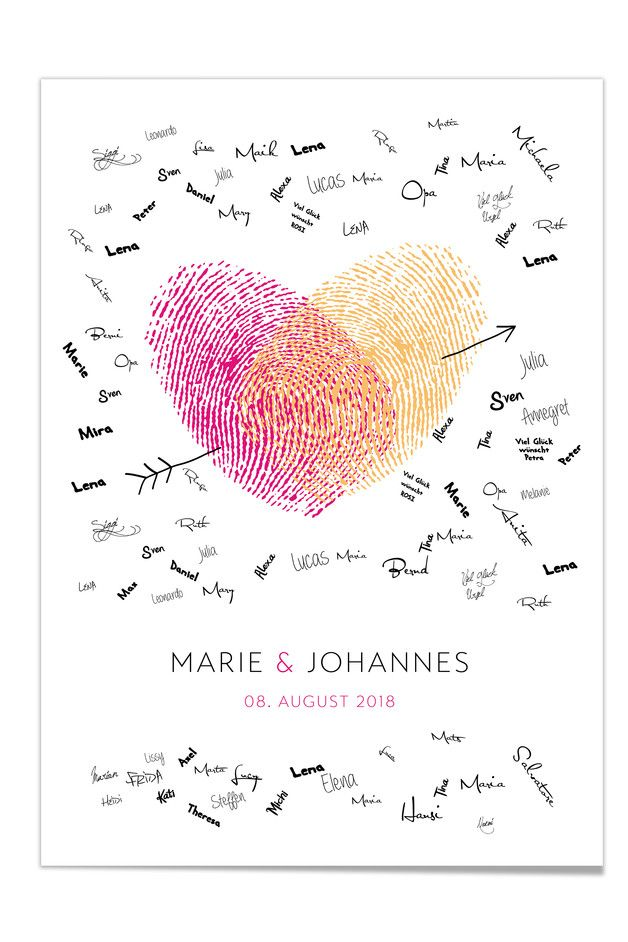 Individualisierbares Gästebuch Poster mit Fingerabdrücken in Herz-Form mit Unterschriften der Hochzeits Gäste / finger print guest book  for the wedding made by day made by Design Grußkarten via DaWanda.com