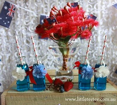 Australia Day - red / white / blue centre piece.