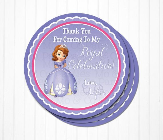 Sofia The First Birthday Party Favor Tag Personalized