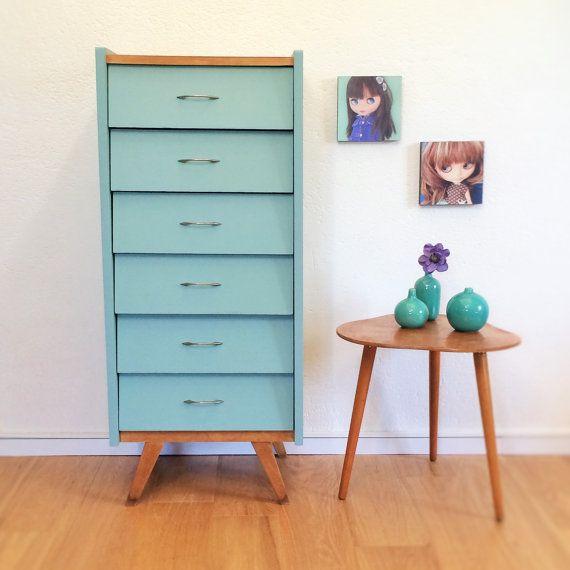 Chiffonnier, semainier 6 tiroirs vintage, années 50, coloris bleu - vert, modèle Gustave - RESERVE STEPHANIE