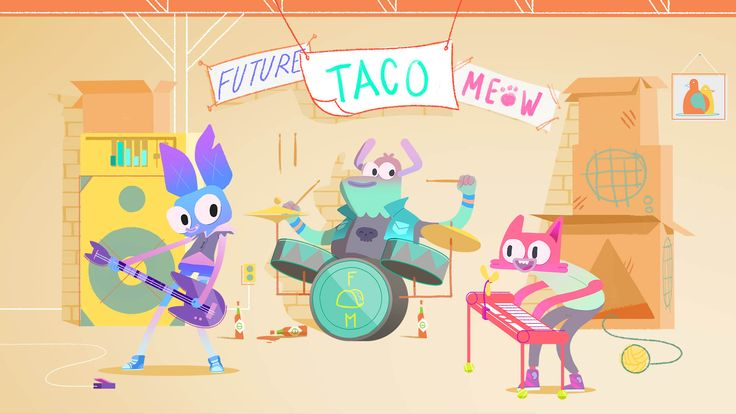 Future! Taco! Meow! is an animated short about the dynamics between members of a garage band. There are high fives, there are battling egos, there are snacks. This short was initially commissioned in 2014 by Disney XD as part of their animated shorts program.