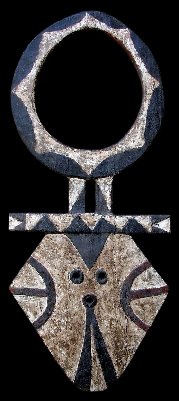 Africa | Bedu mask from the Nafana people of the Ivory Coast or Ghana | Wood with pigment