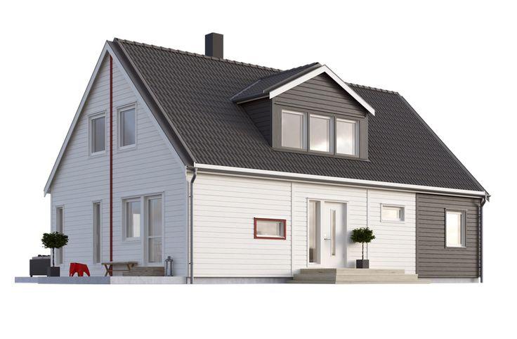 Villa Kosta har kort takfot och liggande panel vilket ger huset ett modernt och tufft formspråk. Med rätt exteriör färgsättning blir huset än mer unikt. Undervåningen består av öppen planlösning mellan kök och vardagsrum, rymlig entré och två sovrum. Övervåningen kan ni inreda på ett flertal olika sätt, men som mest rymmer huset 8 rum och kök om 155,7 m2. #smålandsvillan #villakosta #hus #bygganytt #nybyggnation #inspiration #hustillverkare