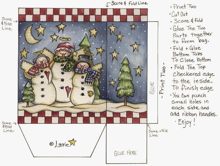Navidad: Cajas con Muñecos de Nieve para Imprimir Gratis