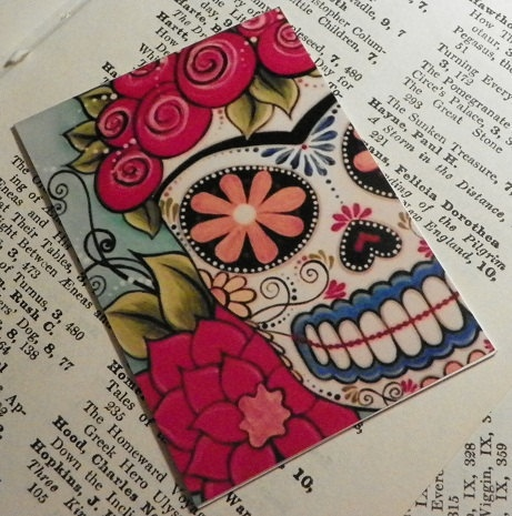 Frida Kahlo day of the dead sugar skull ACEO painting print art by Megan. $4.00, via Etsy.