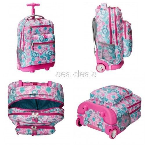 School Backpack With Wheels Girls Kids Cute Floral Books Hand Bag Laptop Carrier…