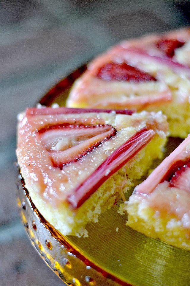 Honey & Lemon Strawberry Rhubarb Upside Down Cake - Bakeaholic Mama