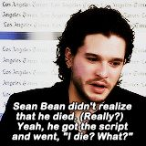 """""""Get to Know Me Meme: [3/10] Celebrity Crushes: Kit Harington It's weird, this double personality – being a character. [On occasion, fans will yell out] """"Bastard!"""" I can't tell whether they're talking..."""