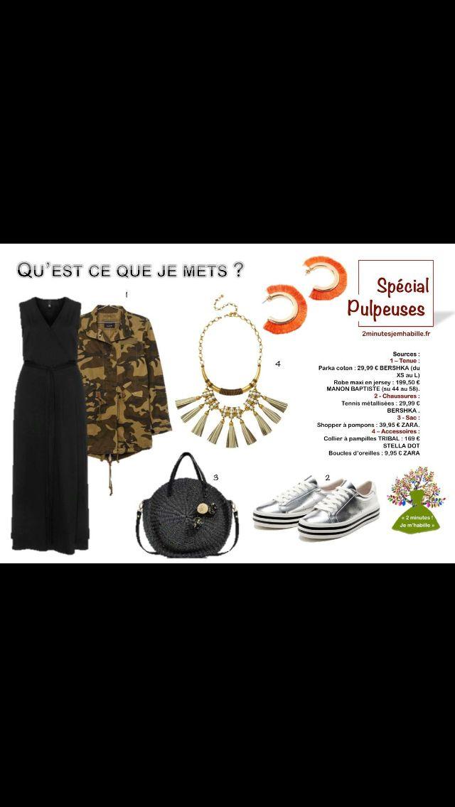 SPECIAL PULPEUSES & CHIC : une tenue pour une soirée entre filles. Toutes les infos pour être belle et chic sur 2minutesjemhabille.fr #rondes #jemetsquoipourunesoireefilles #camouflage #robe #sneakers #curves #fashion #fashionista #fashionstyle #fashionblogger