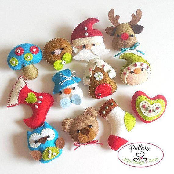 Set of Twelve Mini Christmas Ornaments Patterns PDF-Christmas